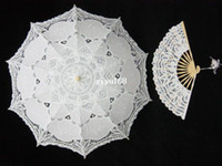 Wholesale Inch Lace hand fan lace parasol umbrella for Wedding Bridal decoration