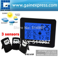 Kitchen Temperature Sensor S08S3318BL_3S Indoor Outdoor Temperature Digital Wireless Weather Station Radio Controlled Clock RCC DCF Date Calendar + 3 sensors