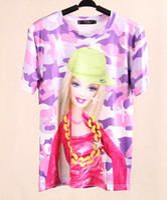 Women Polo Tops 2014 Women Fashion 3D Barbie Shirt Lady Girls' Lovely Cartoon T-shirt Short Sleeve Pink Cute Character Tops Tees