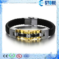 Wholesale Genuine Leather Bracelets with Carbon Fiber amp Stainless Steel Bangles for Men