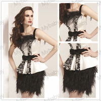 Reference Images Off-the-Shoulder Taffeta Sexy Spaghetti Straps Backless Ruffles Feather Sash Peplum Charming Sheath Mini Short Homecoming Garaduation Party Dress 2014 02