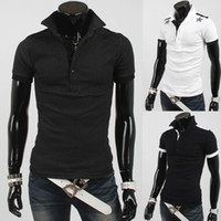 Men Cotton Polo 3286# 2014 HOT New Fashion Korea mens t shirts Men's Slim Star printing short sleeve POLO T-shirts shirt
