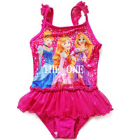 Girl One-piece 3T-4T three princess swimsuit children's bathing suits one-piece swimming suit veil skirt girl board shorts cover-up one piece kids swimsuit