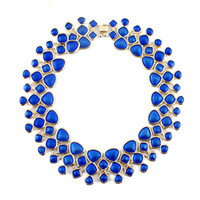 statement necklaces - Fashion Statement Necklace New Collar Blue Enamel Necklace Women