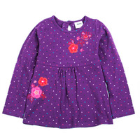Wholesale nova brand autumn winter baby long sleeve flower embroidered girls tops and blouses purple t shirt smock dress pinafore H3591