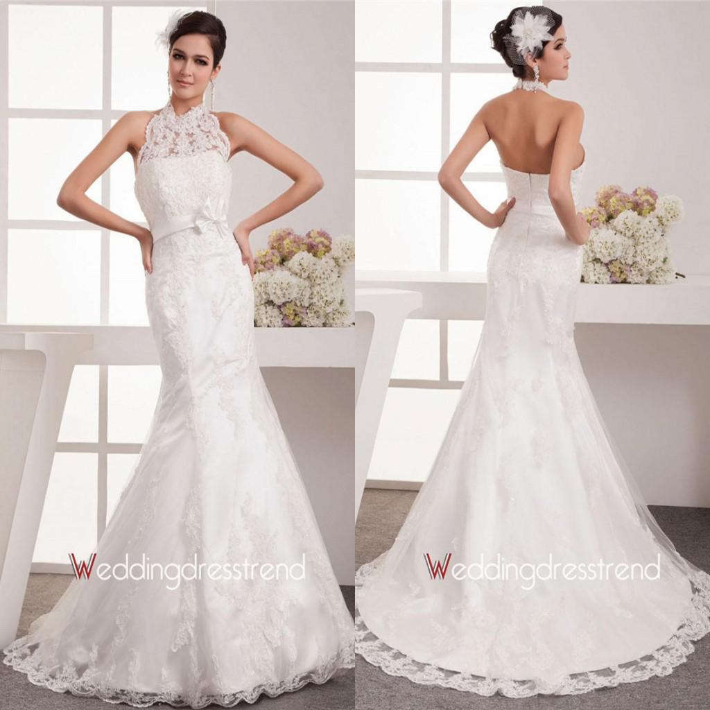 2014 New Design Noble White Turtleneck Lace Mermaid Wedding Dresses Applique Beads Backless Sash