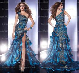 Wholesale 2014 Pageant Dresses One Shoulder Peacock Feather Applique Side Slit Backless A Line Evening Dresses Organza Prom Dress P14366