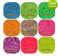 Wholesale Rainbow Loom Refill Rubber Bands Clips Neon Glow in the Dark hot sale