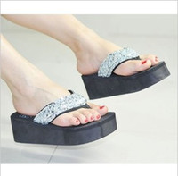 Wholesale Summer New Fashion Sequined Sandals and Slippers Slope with Flip Flops Cheapest Slippers Five Color