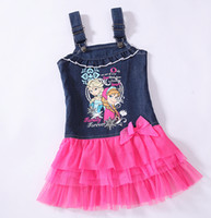 Summer hot summer tops - Ice and snow Princess Denim Dress Hot sales Yrs Yrs Anna Elsa Suspenders Jeans Tutu Dress Tank Top Girls Summer Dresses