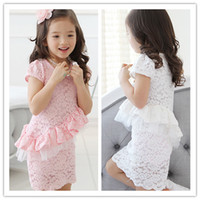 Wholesale lt Nice Dress gt New Arrival Children Girl s Short Puffed Sleeve Lotus Leaf Lace A line Princess Dress Pink White Color T0523