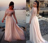 2014 2015 Elie Saab Sexy Lace Sheer Long Sleeves Chiffon Bea...