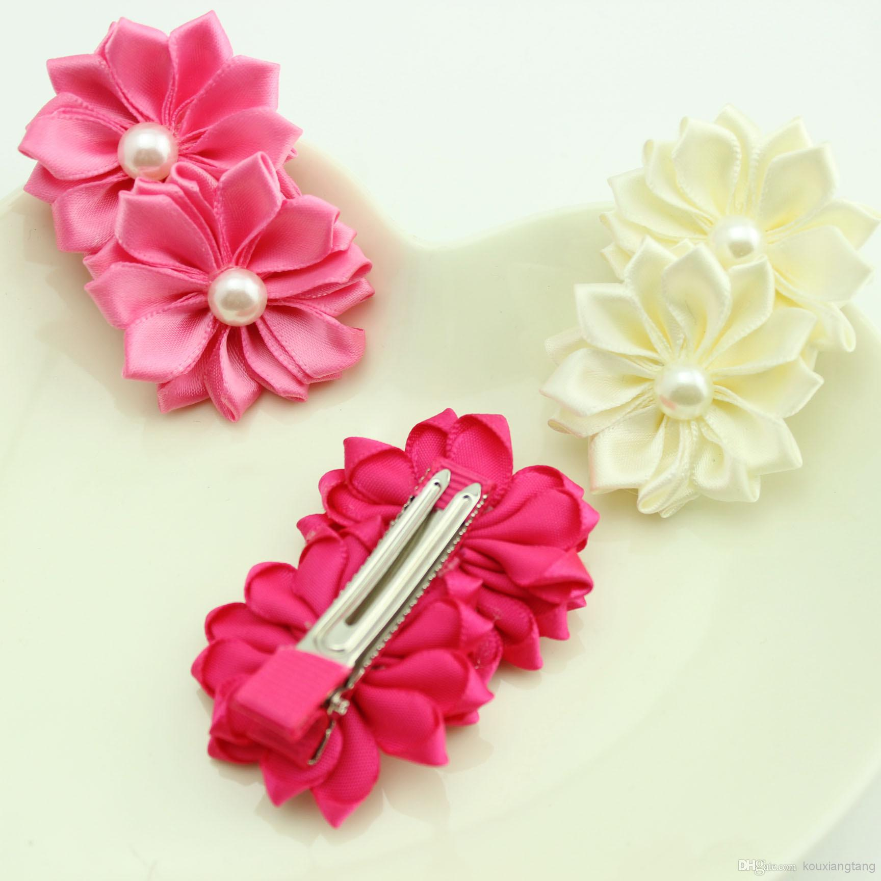 candy color satin flower hair clip with preal for children girl baby hairclips children accessories - Buy Candy By Color