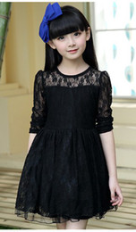 Wholesale 2014 Summer New Arrival Children Floral Lace Princess Dress Kids Solid Embroider Flower Dresses Young Girls Long Sleeve Dressy I0994