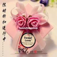 Wholesale Happy Wedding Candy Boxes Tinplate Ribbon Flowers Big Pink Blue Purple wedding supplies square candy box packaging