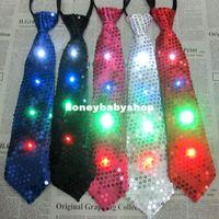 Wholesale led flash tie tie Stage Performance pieces South Korean import emulation silk fabrics narrow version into small men tie