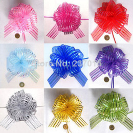 Promotion arcs décorations mariage 20pcs Organza Ribbon Pull Bow Wrap Flower Gift Wedding Birthday Party Decoration