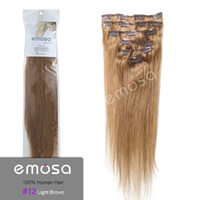 Wholesale Emosa Light Brown inch Clip In Hair Extensions Human Hair Brazilian Hair Remy Hair Silky soft Queen Hair products