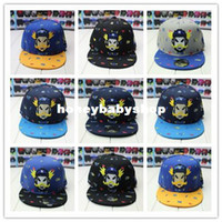 Wholesale Korean star models cartoon robot with embroidery fashion hip hop cap flat brimmed hats for men and women snapback caps