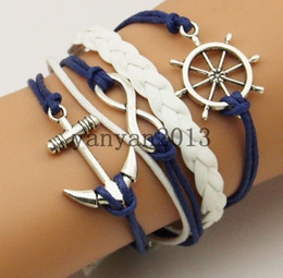 Wholesale Diy hand woven fashion antique silver anchor rudder infinite multilayer woven leather bracelet charm bracelets selling jewelry personalized
