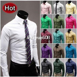 Free shipping Hot Sale Fashion Mens Shirt Designer Casual Slim Fit Solid Candy Color 17 Colors Dress shirts Asian size M-3XL