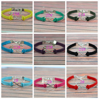 Wholesale Fashion Silver Plated Infinity Link Chain Korea Velvet Bracelets Colors