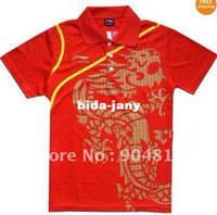 li ning - Li Ning Man s T Shirt Table Tennis Ping Pong blue black red China Team