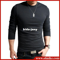 Wholesale amp gift NEW Men s t shirt Korean slim O neck cotton long sleeve grandad top extra large XXL color SALE C122