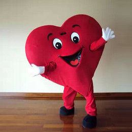 Wholesale Adult Size Red Heart Mascot Costume Party Clothing