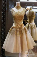 Wholesale 2014 Short Dress Strapless Tea Length Tulle Lace Hollowed Halter Sweetheart Wedding Dresses Outdoor Bridal Gowns Party Dress WYL26