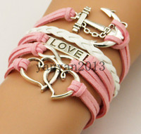 Wholesale Supply anchor horizontal fashion hand knitted multi Love double heart handmade jewelry charm bracelet personalized woven leather
