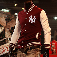 Wholesale 2014 Hot Men s Jacket Baseball Fashion Jackets Basketball Jackets Color Black Red Navy Size M XXL MMJ842