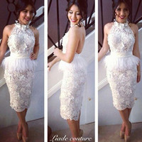 Reference Images High Neck Lace 2014 Cheap Backless Knee Length Sexy New Design High Quality Custom Made Lace Appliques Peplum High Neck White Cocktail Prom Party Dresses