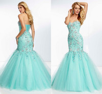 Reference Images Sweetheart Tulle BM Elaborate Prom Dresses 2014 Customized Beaded Mermaid Tulle Appliques Floor Length Corset Blue Mermaid Prom Dress