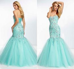 Wholesale BM Elaborate Prom Dresses Customized Beaded Mermaid Tulle Appliques Floor Length Corset Blue Mermaid Prom Dress