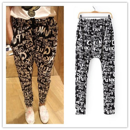 Wholesale Hot Fashion Sexy Young Ladies Summer Pants Charming Alphabet stamp Harem pants hip hop Cross pants A443