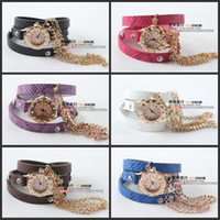 Wholesale 2014 Luxury New Arrival Unique Sparkling Rhinestone Synthetic Leather Sling Chain Quartz Watches Women Wrist Watch colors