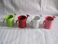 Wholesale mixed colors Wedding decorative Watering can sharp egg pots bucket tin box Iron pots flower metal easter egg pot mixed color