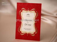 Wholesale Hot Sale Custome Made Folded Hollow Red amp Gold Wedding Favors Wedding Invitation Cards