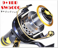 Saltwater   No.1 Quality&service SUPERIOR METAL SPINNING FISHING REEL 9+1BB SW5000 top sale +gift