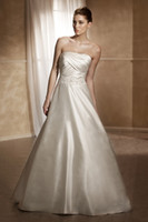 A-Line Reference Images Strapless Pretty Cascades A-line Wedding Dresses Strapless Lace-up Sleeveless Court Train Beads Ruffle Stretch Satin Bridal Gowns