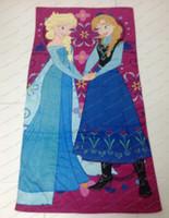 Wholesale Frozen Towels Frozen Anna Elsa Beach Towel Frozen Baby Bath Towel Cotton Kids Bikini Cover Up Frozen Princess Towels