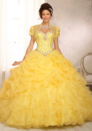 Wholesale 2015 Yellow and any color Ball Gown Sweetheart Floor Length Lace up Beadings Crystals Organza Quinceanera Dresses With a Jacket