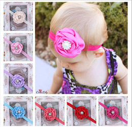 Wholesale Children Pearl Rhinestone Centre Flower Headband Rose Flowers Girls Baby Headbands Elastic Hairbands gmy
