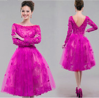Wholesale 2016 Summer Beach Prom Gowns Bateau Neck A Line Lace Applique Tea Length Long Sleeves Sheer Lace Zipper Back Custom Made Evening Dresses
