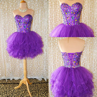 Organza formal cocktail dresses - Actual Image Purple Sexy Strapless A line Beaded Crystal Mini Short Prom Homecoming Dresses Formal Party Girl New Cocktail Dress Gown
