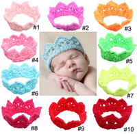 Wholesale 10 colors Girl baby crown headband crochet headband stretch high quality TQM1129