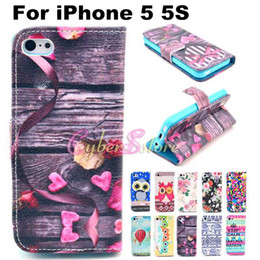 Wholesale For iPhone S Case Cute Owl Tribe Flower Balloon Stand Wallet PU Leather Case Cover With Card Holder Money Pocket For iPhone5
