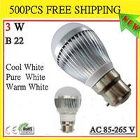 Wholesale 500X High power CREE W LED globe bulb lamp light Dimmable x1W E27 GU10 E14 B22 V LED Light downlight led Bubble Ball Lamp spotlight