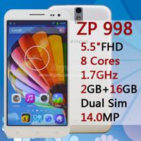 Wholesale ZOPO ZP998 MTK6592 Octa Core C2 Phone Inch FHD x1080 GB RAM GB MP Android Smart Mobile Phone ZOPO ZP998 Smartphone Black White